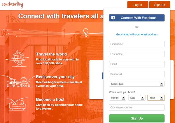 Página de inicio de Couchsurfing