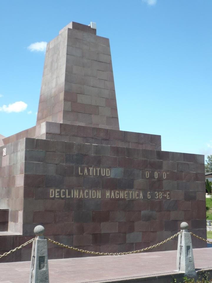 El monumento de Mitad del Mundo al fondo