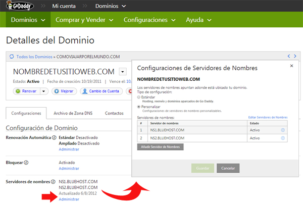 asociando dominio nombre servidor