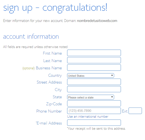 hosting account information