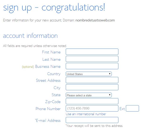 hosting account information