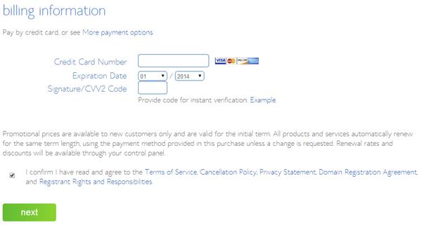 hosting billing information
