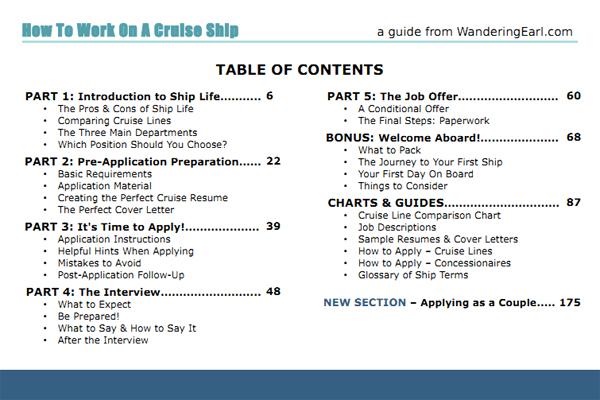 """Tabla de contenido del ebook """"Trabaja en un Crucero"""""""