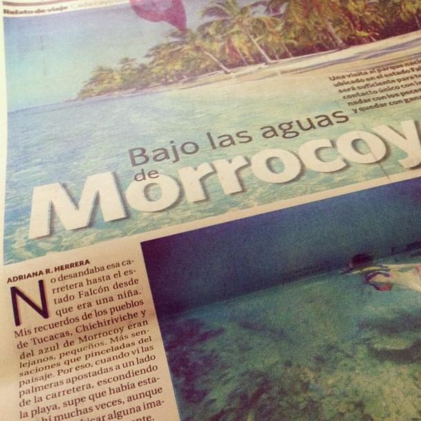 Bajo las aguas de Morrocoy, artículo que Adriana Herrera escribió para el diario El Nacional