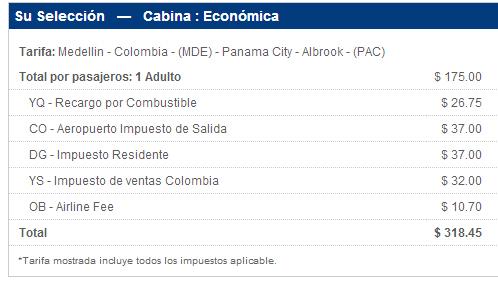 Precio Medellín - Panamá con Air Panamá