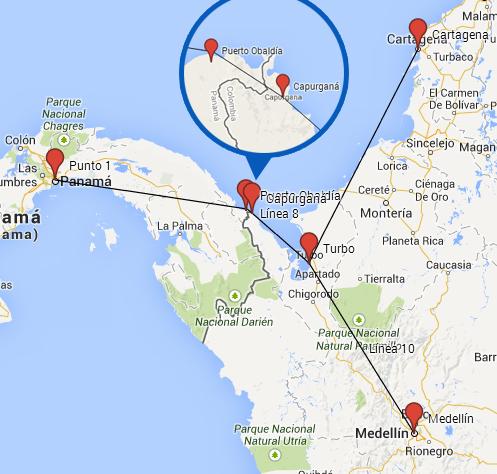 Ruta de Panamá a Colombia