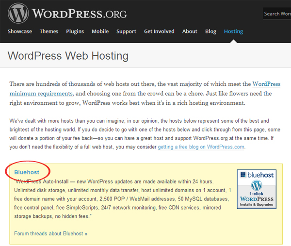bluehost wordpress recomendacion